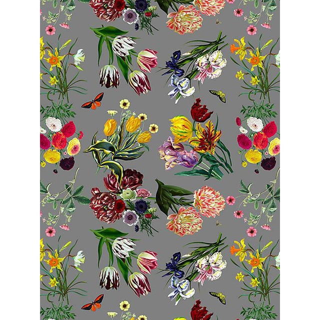 Transitional Scalamandre Nicolette Mayer for Scalamandre Flora & Fauna, Gray Wallpaper For Sale - Image 3 of 3