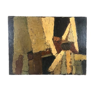 "1950's Vintage Abstract Olive Mustard & Brown Impasto ""Ciment #2"" Oil on Canvas Painting by Phyllis Ciment For Sale"