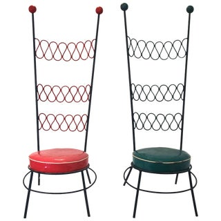 Pair of French Iron and Original Skai High Chairs in the Style of Jean Royère For Sale