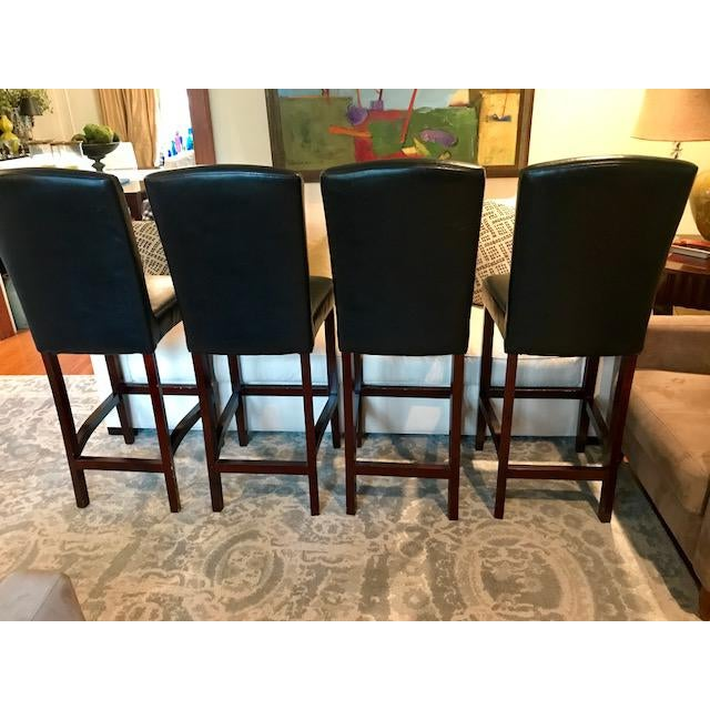 Top-Grain Leather Bar Stools, Classic and Clean-Lined - Set of 4 - Image 4 of 11