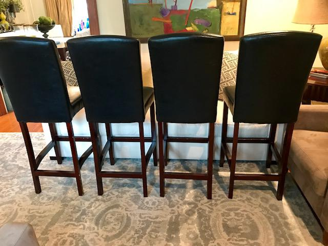 Top Grain Leather Bar Stools, Classic And Clean Lined   Set Of 4