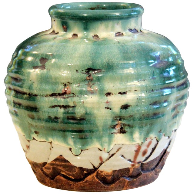 Awaji Pottery Manipulated Jar Heavy Drip Lava Glaze Wabi Sabi Tea Ceremony Vase For Sale