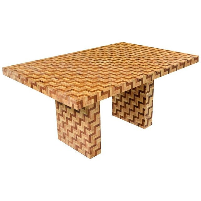Wood Chevron Parquet Bamboo Rattan Pedestal Dining Table or Desk, 1970s For Sale - Image 7 of 7