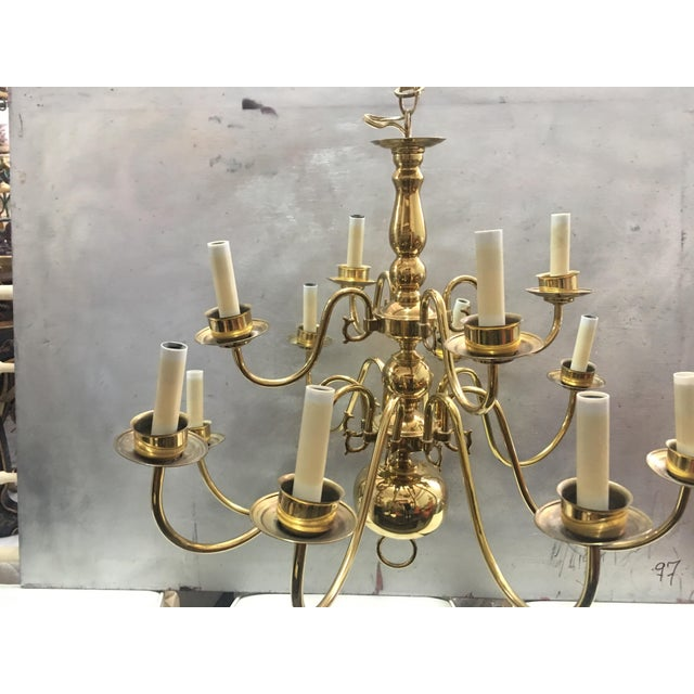 Vintage brass williamsburg chandelier chairish traditional vintage brass williamsburg chandelier for sale image 3 of 4 aloadofball Image collections
