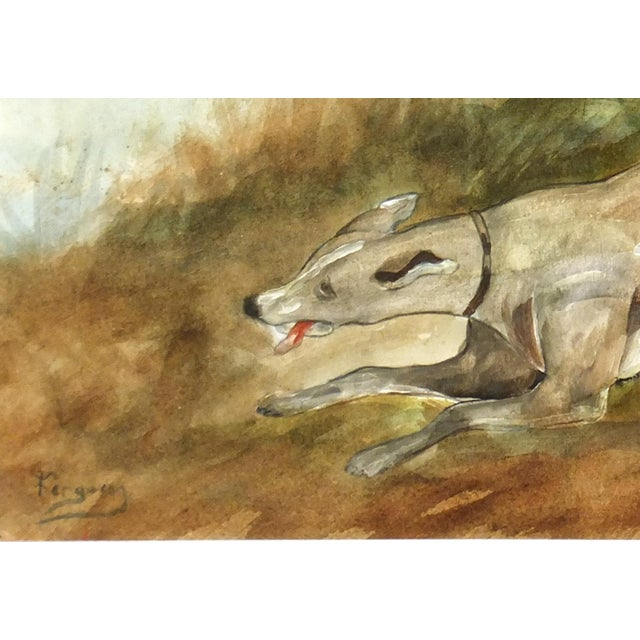 "C. 1950 Vintage Watercolor, ""The Fox Hunt"" - Image 2 of 4"