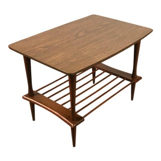 Mid-Century Modern End Table / Nightstand With Magazine Shelf For Sale