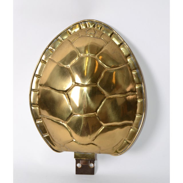 Chapman Polished Brass & White Enamel Tortoise Shell Sconce, Wall Light, Usa 70s For Sale - Image 12 of 13