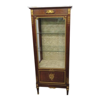 French Empire Style Marble Top Vitrine For Sale