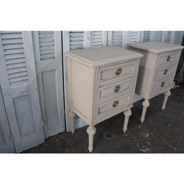 Mid-Century Modern 20th Century Swedish Gustavian Style Nightstands - A Pair For Sale - Image 3 of 13