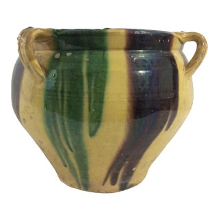 French 19th Century Multicolored Glazed Garden Pot For Sale