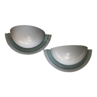 Pair Art Deco Style Wall Sconces Enamel on Glass For Sale