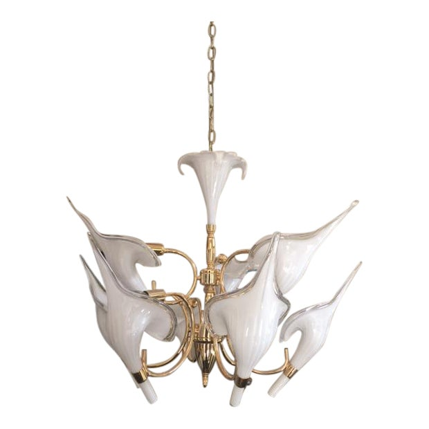 Beautiful Murano Calla Lily Chandelier by Franco Luce - Image 1 of 5