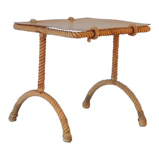French Rope Square Side Table by Audoux & Minnet For Sale