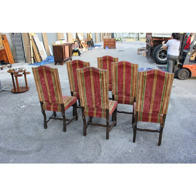 Monumental Set Of Louis XIII Style Solid Walnut Os De Mouton Dining Chairs - Set of 6 - Image 5 of 11