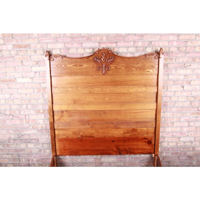Early 20th Century Antique Carved Oak Full Size Bed, Circa 1900 For Sale - Image 5 of 9