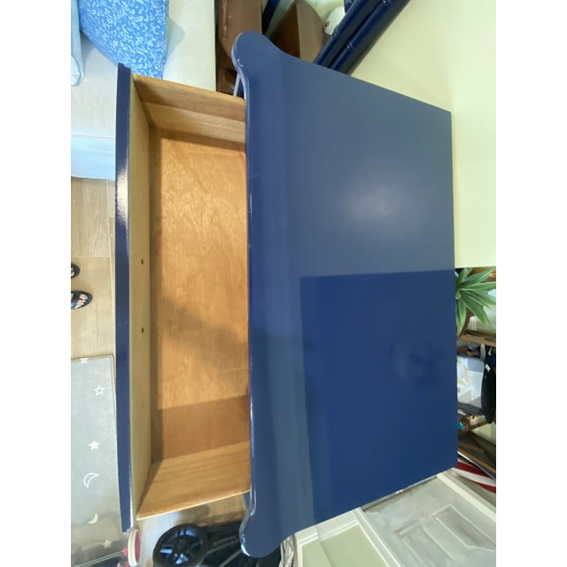 Navy Blue Palm Beach Chic Faux Bamboo Tall Dresser Lacquered in Navy Blue With Gold Handles For Sale - Image 8 of 11