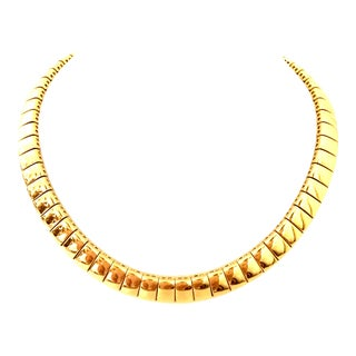 20th Century Italian Gold Link Choker Style Necklace By, Napier For Sale