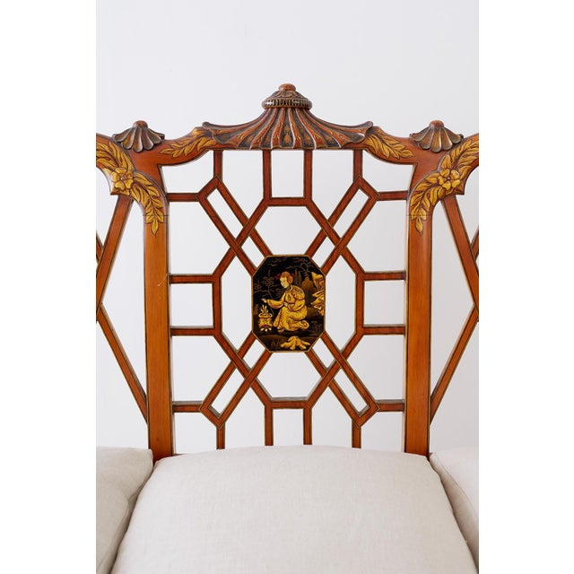 Wood English Chinoiserie Chippendale Style Pagoda Top Settee For Sale - Image 7 of 13