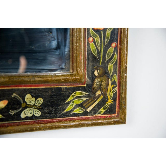 Glass Victorian Style Hand Painted Wall Mirror For Sale - Image 7 of 9