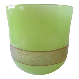 Cyan Design Large Celadon Green With Hand Applied Amber Stripe Vase For Sale