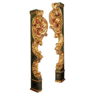 Pair of Italian Paint and Giltwood Architectural Carvings For Sale