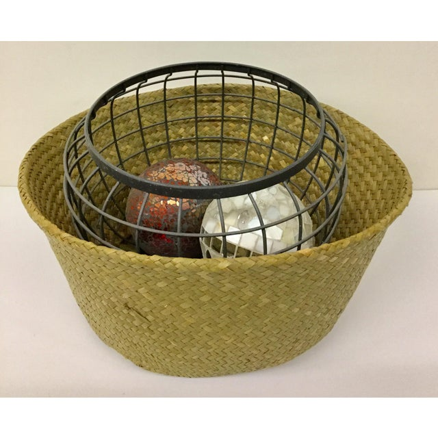 Natural Straw Collapsible Basket For Sale - Image 10 of 12
