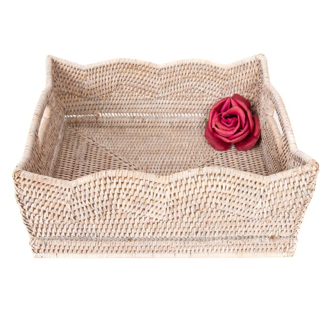 Boho Chic Artifacts Rattan Scallop Collection Rectangular Basket For Sale - Image 3 of 6