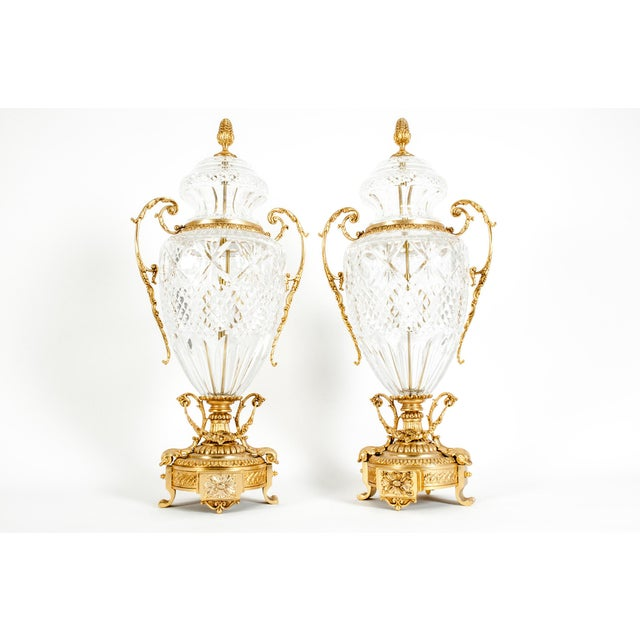 Footed Gilt Bronze-Mounted / Cut Crystal Urns - a Pair For Sale - Image 13 of 13