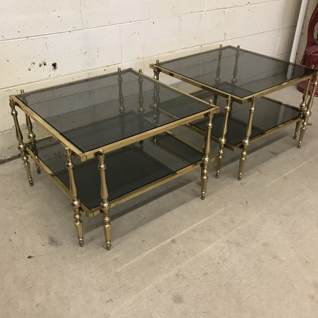 Art Nouveau Italian Smoked Glass & Brass End Tables For Sale - Image 3 of 11