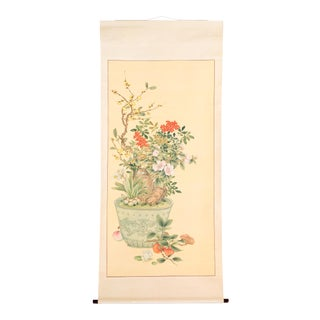 New Year Flowers in Pot Scroll Painting For Sale