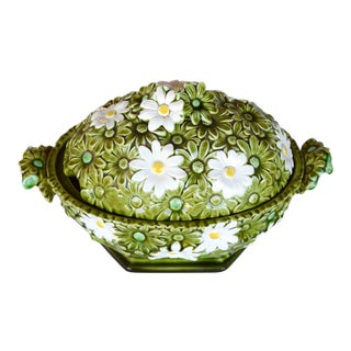 Vintage Cottage Style Green Daisy Ceramic Soup Tureen For Sale