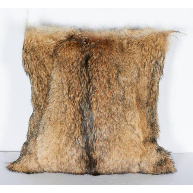 Animal Skin Pair of Luxury Fur Throw Pillows in Genuine Coyote and Cashmere For Sale - Image 7 of 10