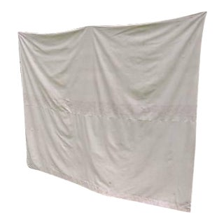 Vintage 1910s French Art Deco Muslin Weight White Cotton Drape Curtain Panel For Sale