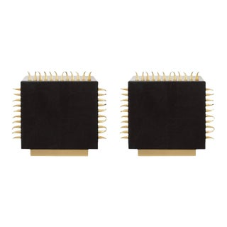 Black Leather with Brass Spikes End Table - a Pair For Sale