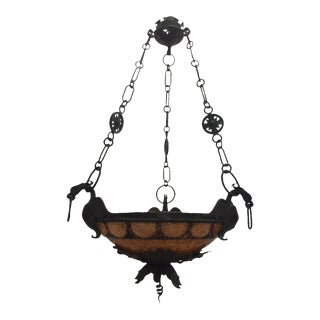 Early 20th Century Antique Solid Brass Gothic Dragons Pendant Light Chandelier For Sale