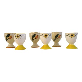 1950s Yellow Floral Pottery Egg Cups - Set of 6 For Sale
