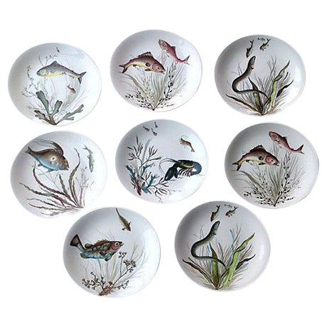 English Fish Plates - Set of 8 For Sale