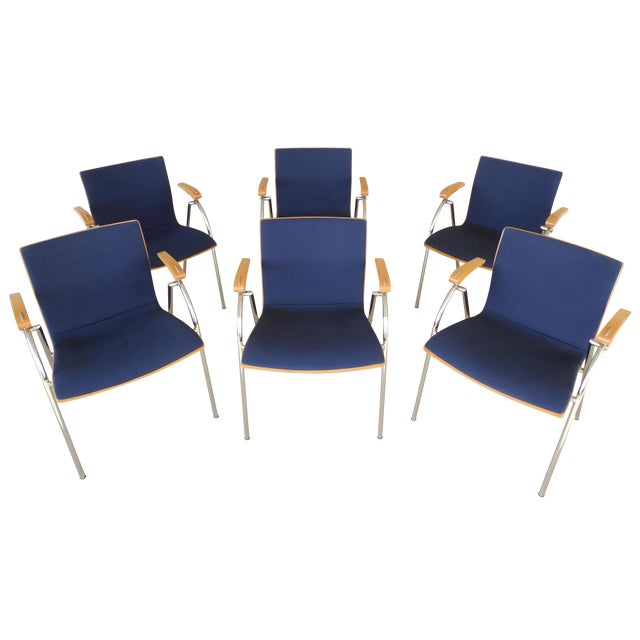 Thonet Chrome & Bent Wood Chairs - Set of 6 For Sale