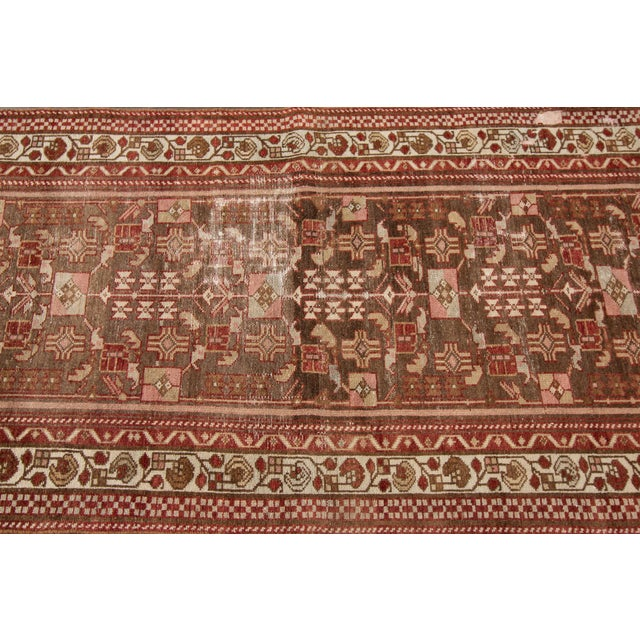 "1910s Traditional Apadana-Antique Persian Distressed Rug - 2'3"" X 10'0"" For Sale - Image 9 of 11"