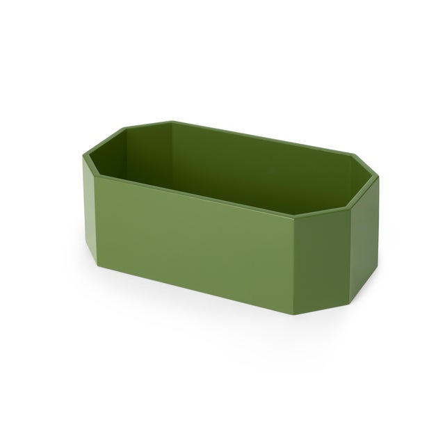 Miles Redd Collection Octagonal Napkin Box in Lettuce Green For Sale - Image 4 of 5