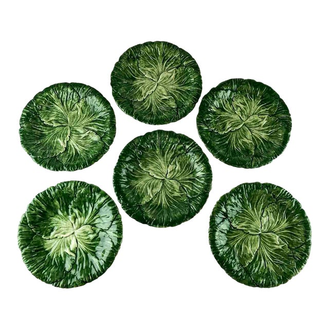 Vintage Vietri Italy Lettuce Leaf Plates – Set of 6 For Sale