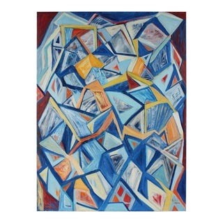 "Georgette London Owens ""September 11th, 2001"" Large Cubist Abstract in Oil"