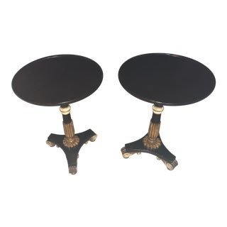 Solid Dark Wood Round End Tables - a Pair For Sale