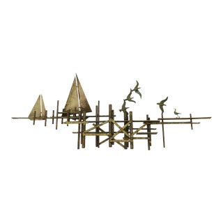 Jere Wall Mont Sculpture With Seagulls and Sailboats For Sale