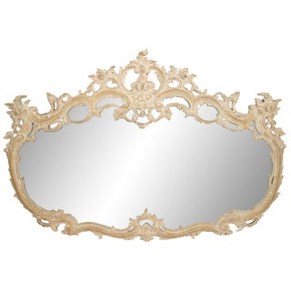 19th Century French Louis XV Style Bleached Carved Wood Wall Mirror For Sale