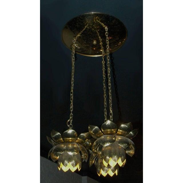 Mid-Century, Hollywood Regency, brass, pendant chandelier by Feldman Lighting Co., is a cluster of three lotus flowers...