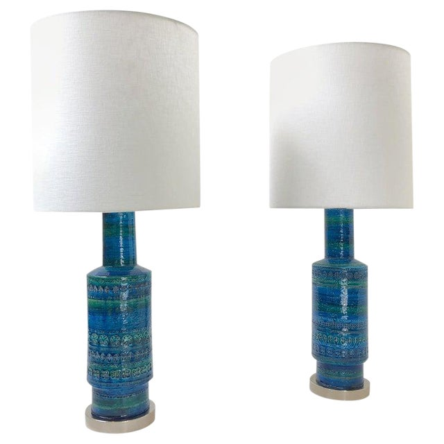 Rare Pair of Rimini Blue Italian Ceramic and Nickel Table Lamps by Bitossi For Sale