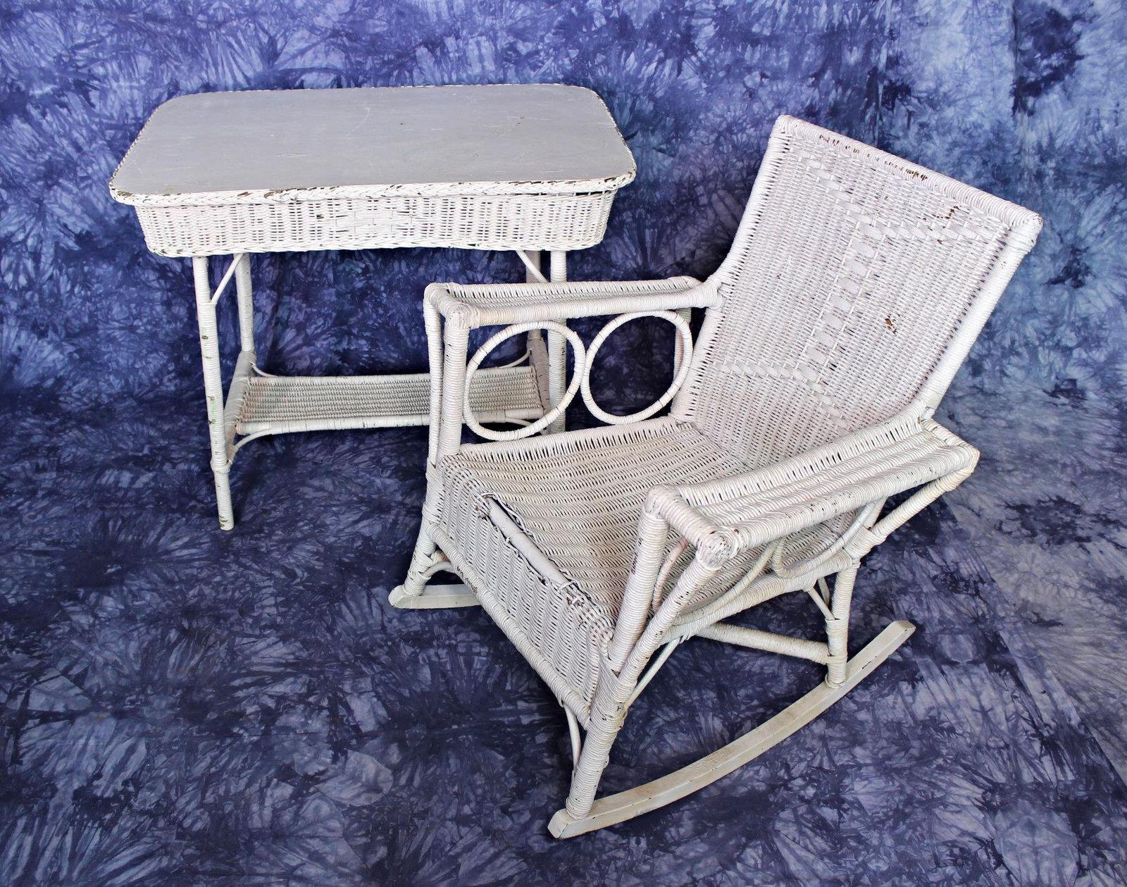 On Offer On This Occasion Is A Rare Antique Victorian Wicker Set,  Comprising Rocking Chair