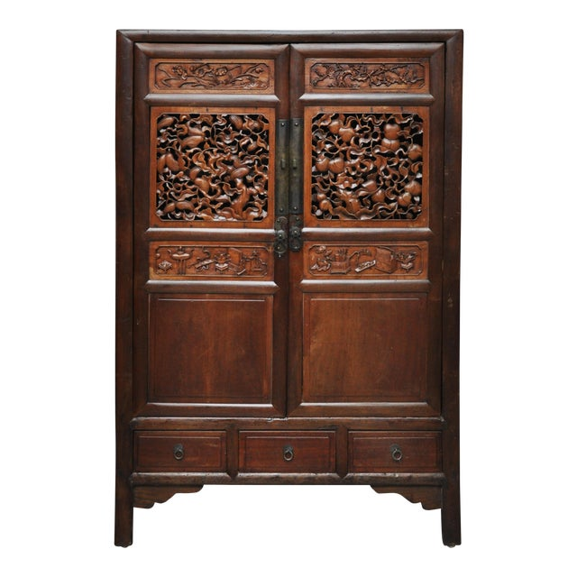 Antique Chinese Cabinet With Burl Wood Carving - Antique Chinese Cabinet With Burl Wood Carving Chairish