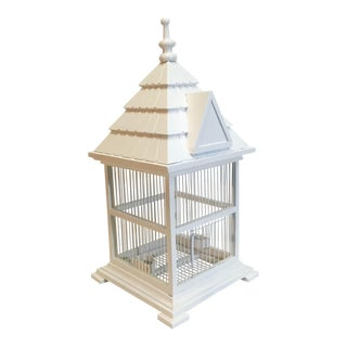 White Wood Functional Bird Cage For Sale
